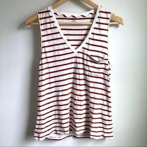 Madewell striped whisper cotton v neck pocket tank